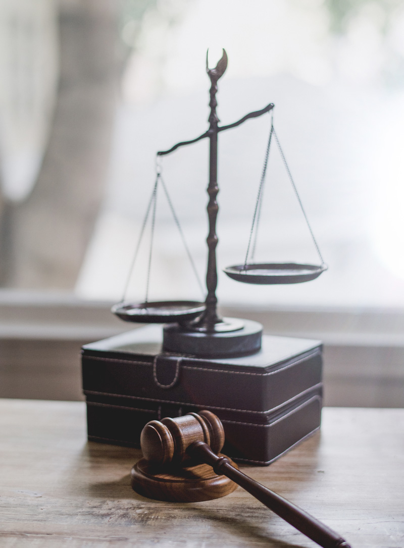 Scales of Justice and Gavel on Display